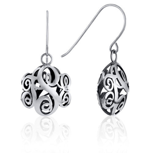 Contoured Monogram Dangle Earrings in Sterling Silver