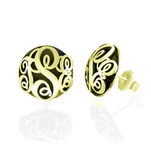 Load image into Gallery viewer, Contoured Monogram Studs Earrings