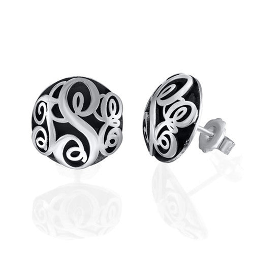 Contoured Monogram Studs Earrings