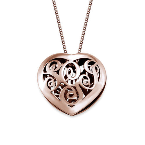 Contoured Silver Monogram Necklace HEART shape