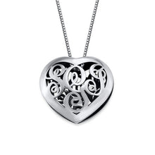 Load image into Gallery viewer, Contoured Silver Monogram Necklace HEART shape