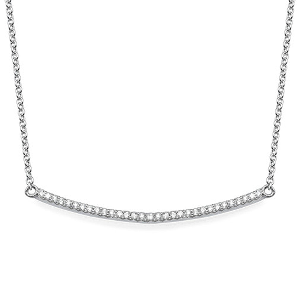 Curved Bar Necklace in Cubic Zirconia