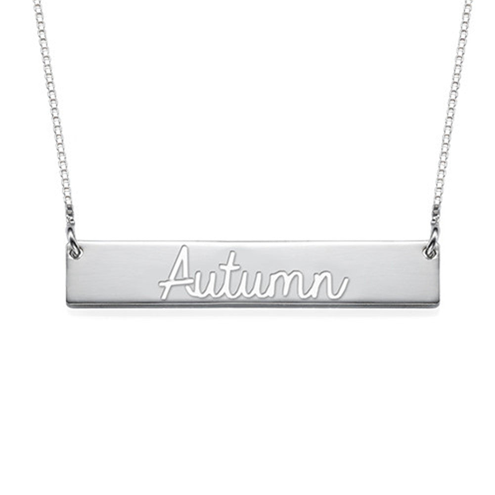 Cut Out Name Bar Necklac