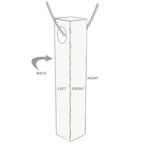 Custom Engraved 3D Bar Necklace Sterling Silver