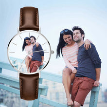 Load image into Gallery viewer, Custom Photo Watch Senior Brown Leather