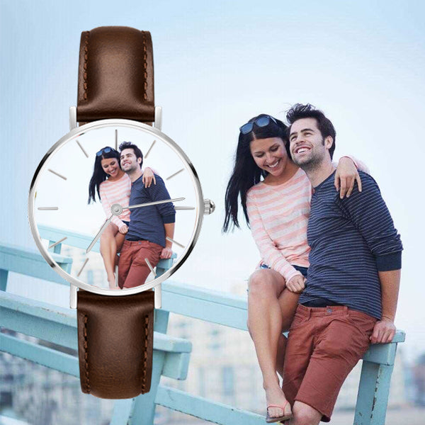 Custom Photo Watch Senior Brown Leather
