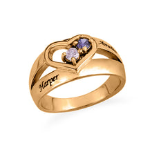 Load image into Gallery viewer, Dual Birthstone Heart Ring