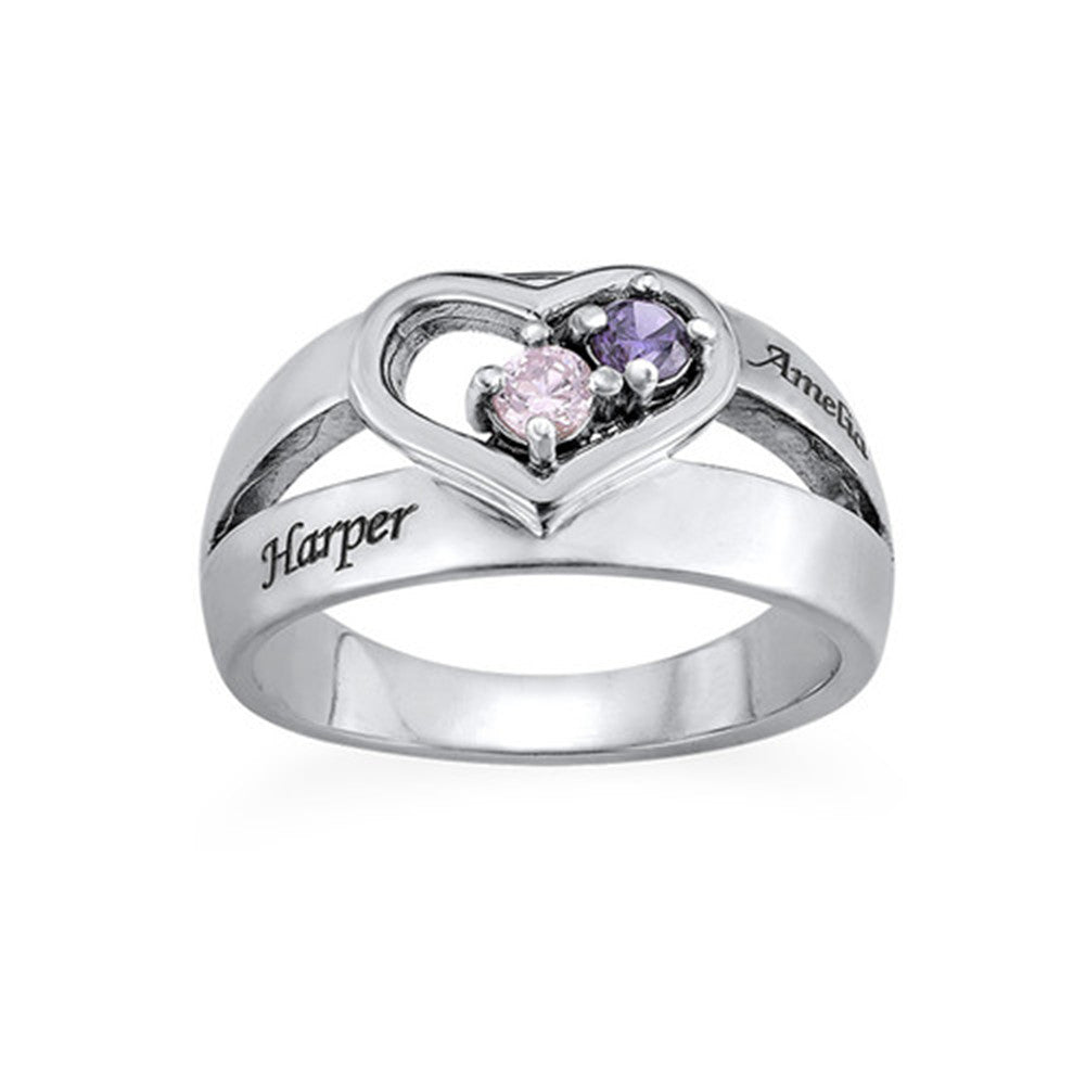 Dual Birthstone Heart Ring