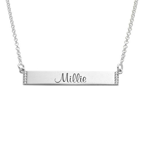 Engravable Bar Necklace with Cubic Zirconia in Sterling-Silver