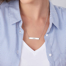 Load image into Gallery viewer, Engravable Bar Necklace with Cubic Zirconia in Sterling-Silver