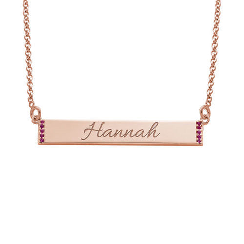 Engravable Bar Necklace with Cubic Zirconia with 18K Rose Gold Plating