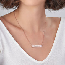 Load image into Gallery viewer, Engravable Bar Necklace with Cubic Zirconia with 18K Rose Gold Plating