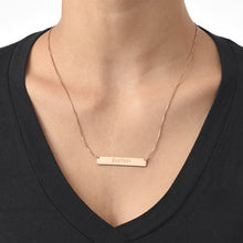 Load image into Gallery viewer, Engraved Bar Necklace with Rose Gold Plating