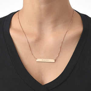 Engraved Bar Necklace with Rose Gold Plating