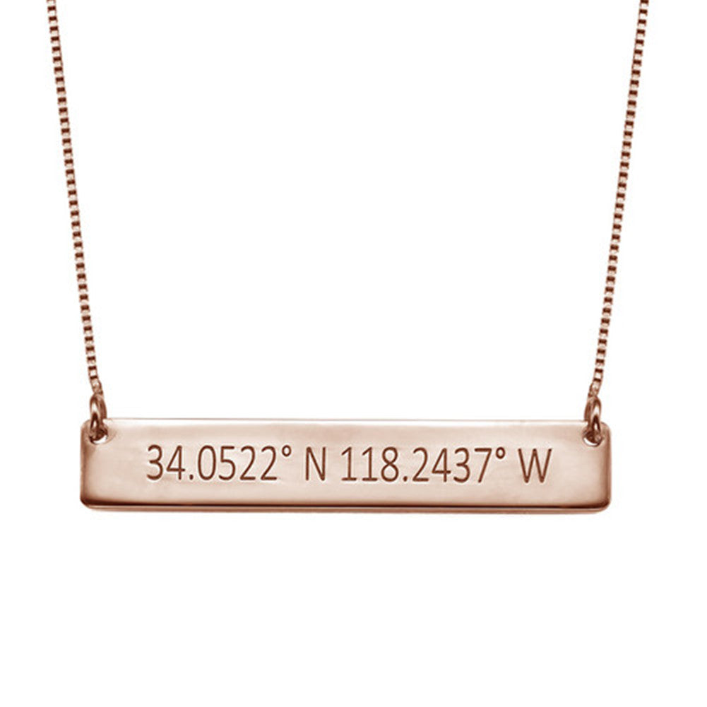 Engraved Coordinates Bar Necklace Rose Gold Plating