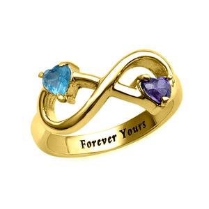Engraved Infinity Ring with Heart Shaped Birthstones