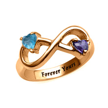 Load image into Gallery viewer, Engraved Infinity Ring with Heart Shaped Birthstones