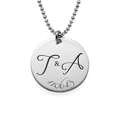 Engraved Initial Necklace with Special Date