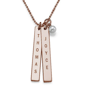 Engraved Name Tag Necklace with Freshwater Pearl Rose Gold Plated