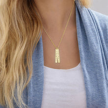 Load image into Gallery viewer, Engraved Vertical Bar Necklace in 10K Solid Gold