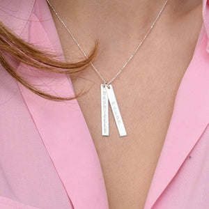 Engraved Vertical Bar Necklace in 10K White Gold