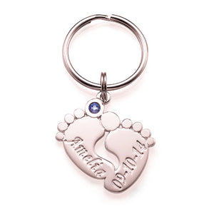 Sterling Silver Baby Feet Key chain