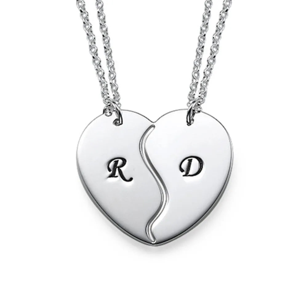 Couple Heart Initial Necklace