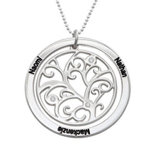 Load image into Gallery viewer, Family Tree Birthstone Necklace Sterling Silver with Three Names