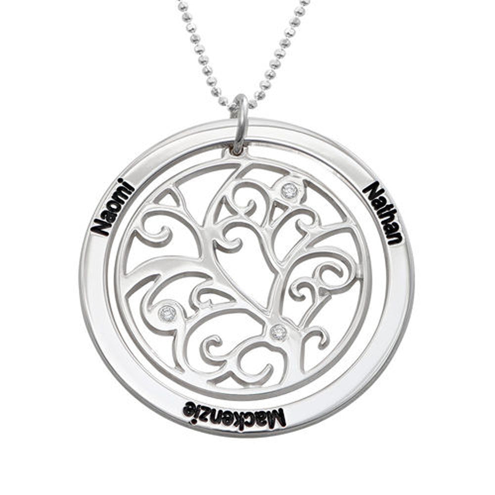 Family Tree Birthstone Necklace Sterling Silver with Three Names