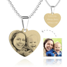 Load image into Gallery viewer, Women's Heart Photo Engraved Tag Necklace With Engraving 18k Gold Plated Stainless Steel