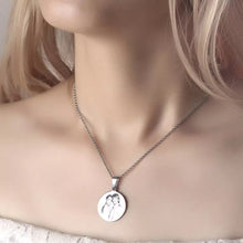 Load image into Gallery viewer, Women's Round Photo Engraved Necklace Silver