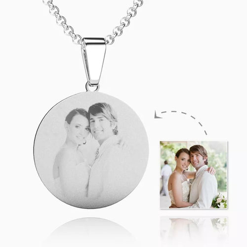 Women's Round Photo Engraved Necklace Silver