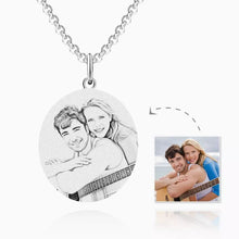 Load image into Gallery viewer, Round Photo Engraved Tag Necklace by Sterling Silver
