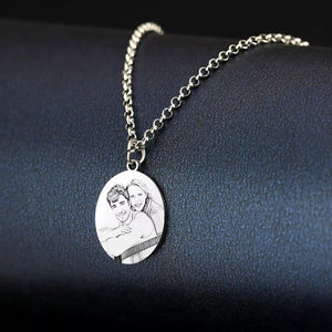 Round Photo Engraved Tag Necklace by Sterling Silver