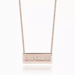 Personalized Hollow Name Bar Necklace Silver