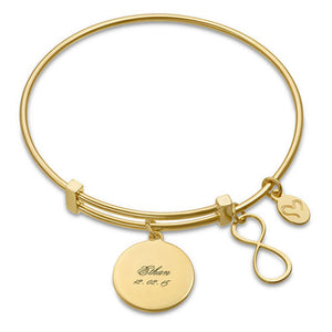 Gold Plated Infinity Charm Bangle Bracelet