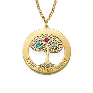 Personalized Gold Plated Tree of Life Necklace with Birthstones