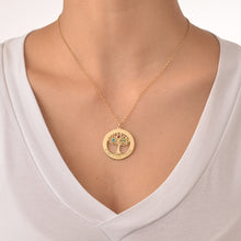 Load image into Gallery viewer, Personalized Gold Plated Tree of Life Necklace with Birthstones
