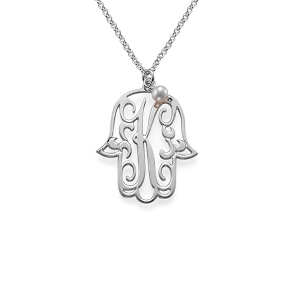 Hamsa Pendant with Initial and One Birthstone