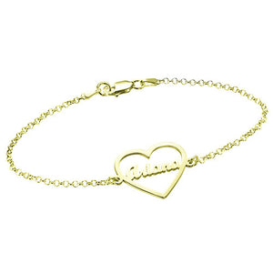 Hollow Heart Bracelet with Name