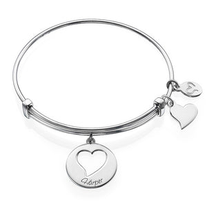Three Heart Charm Bangle