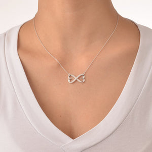 Heart Infinity Necklace in Cubic Zirconia