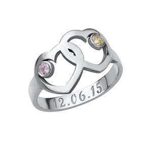 Heart Mothers Ring with Birthstones