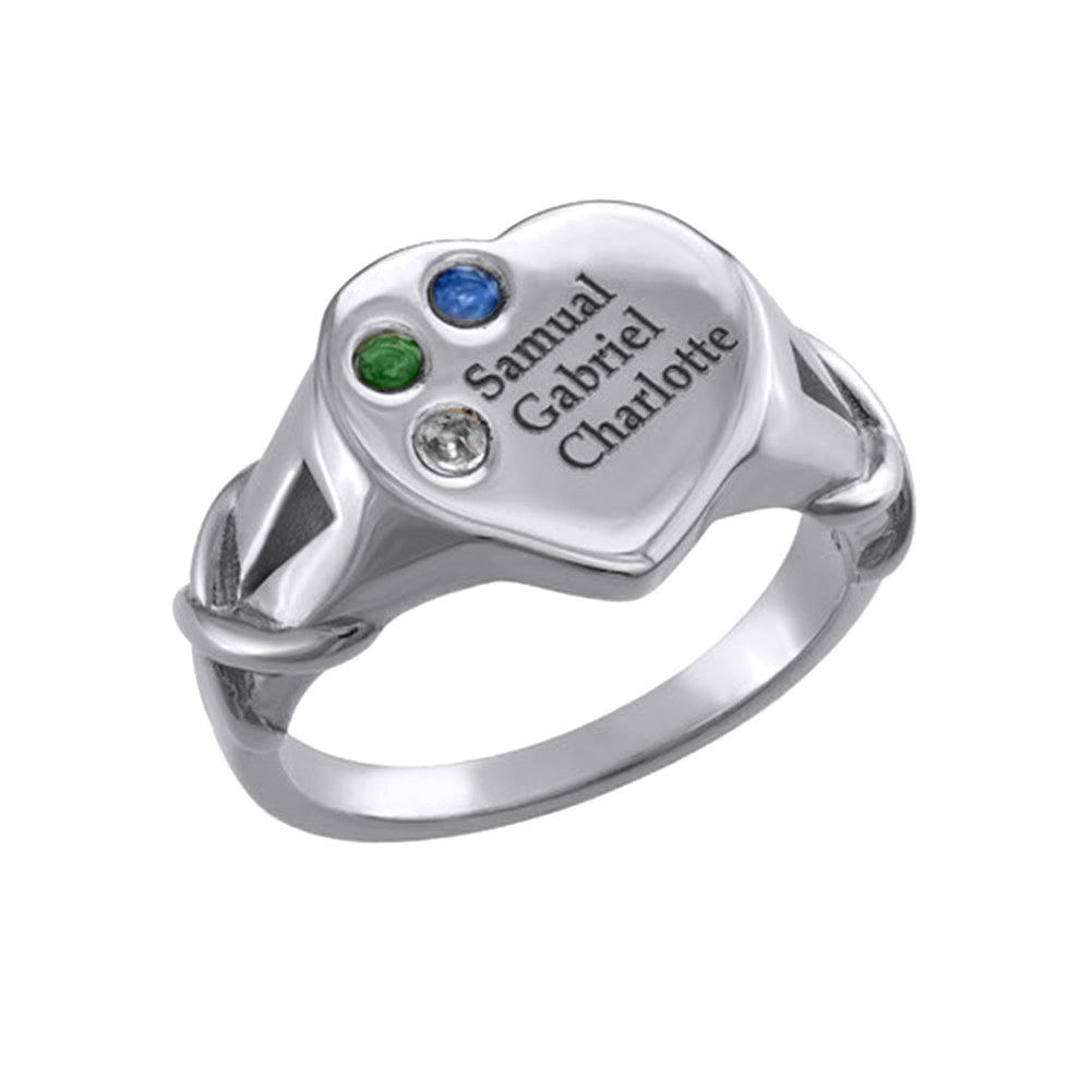 Heart Shaped Signet Mothers Ring with Birthstones