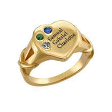 Load image into Gallery viewer, Heart Shaped Signet Mothers Ring with Birthstones