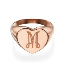 Load image into Gallery viewer, Heart Shaped Signet Ring with Initial