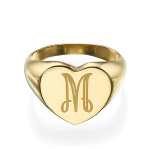 Heart Shaped Signet Ring with Initial