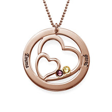 Load image into Gallery viewer, Heart in Heart Birthstone Necklace for Moms Rose Gold Plating