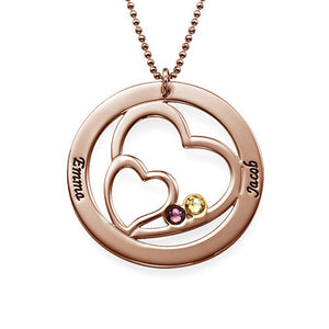 Heart in Heart Birthstone Necklace for Moms Rose Gold Plating