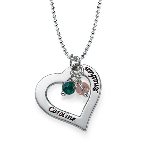 Hollow Heart Necklace with Birthstones